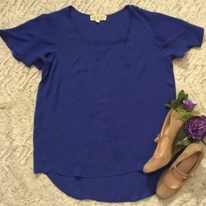 Pink Rose Royal Blue HiLow Butterfly Sleeve Blouse